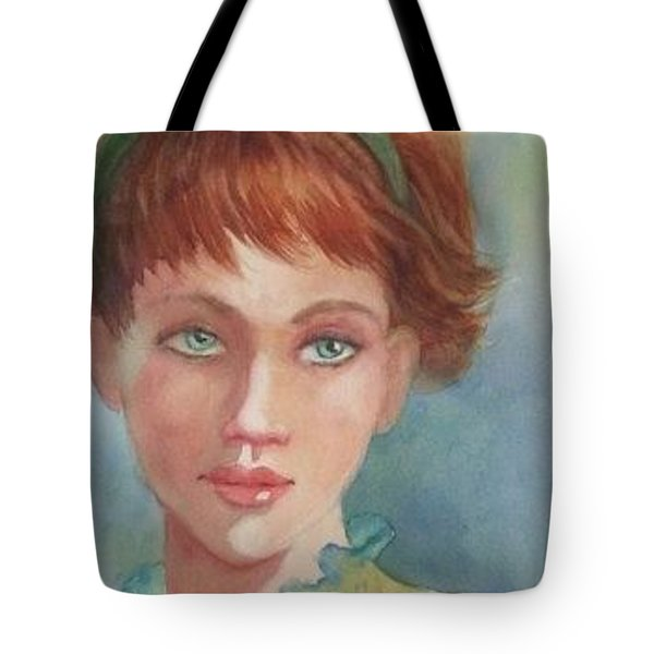 Tote Bag featuring the painting Green Eyes by Marilyn Jacobson