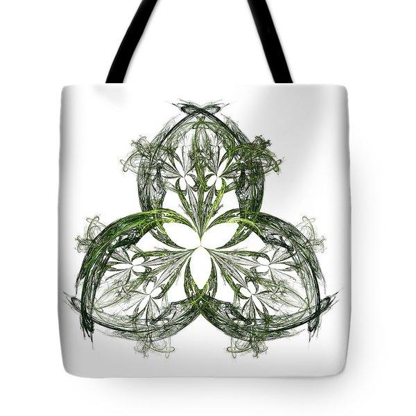 Tote Bag featuring the digital art Green Irish Shamrock Fractal Motif by Jane McIlroy