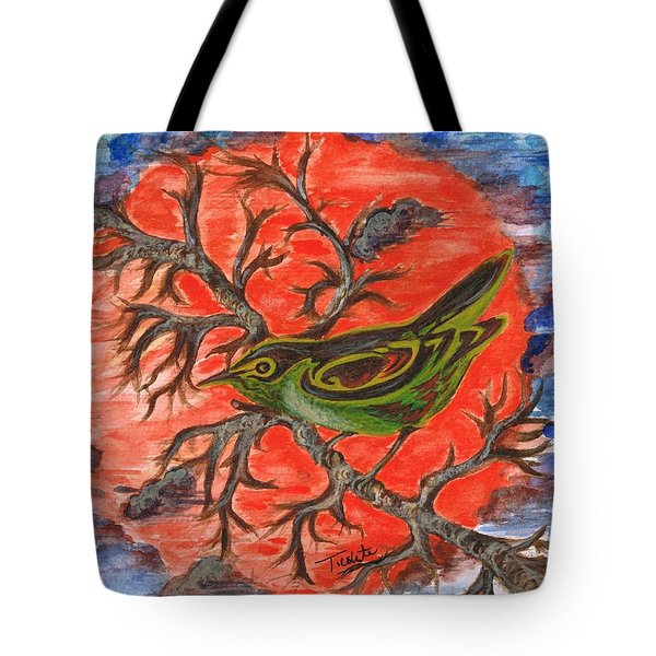 Tote Bag featuring the painting Green Warbler by Teresa White