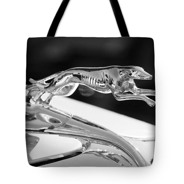 Greyhound Hood Ornament Tote Bag by Chris Dutton