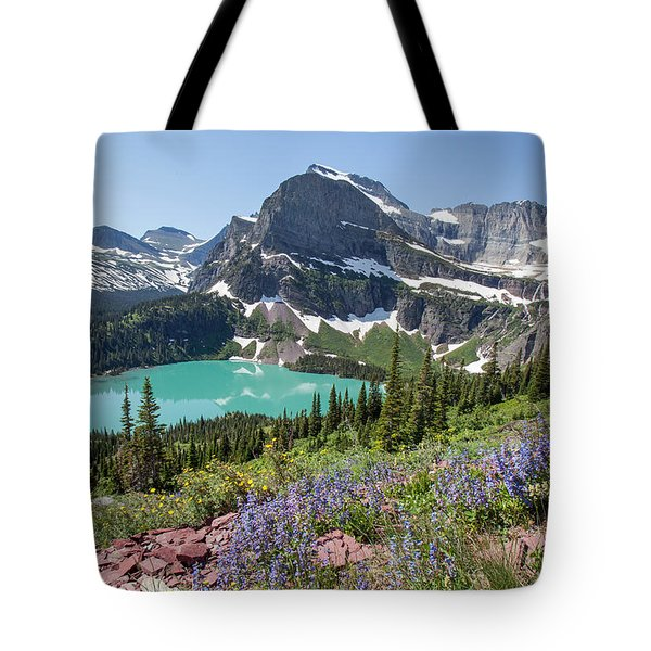 Grinnell Lake Flowers Tote Bag