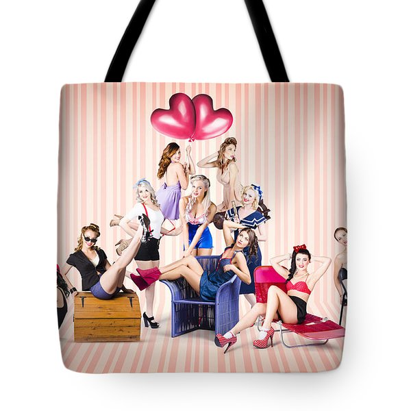 Group Of 10 Beautiful Pinup Girls In Retro Fashion Tote Bag