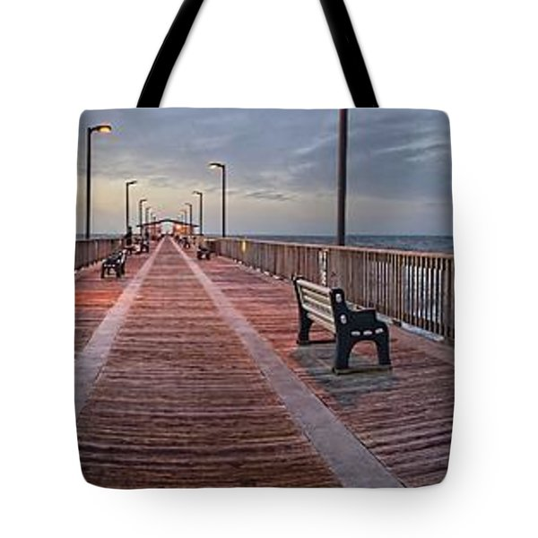 Tote Bag featuring the digital art Gulf State Pier by Michael Thomas
