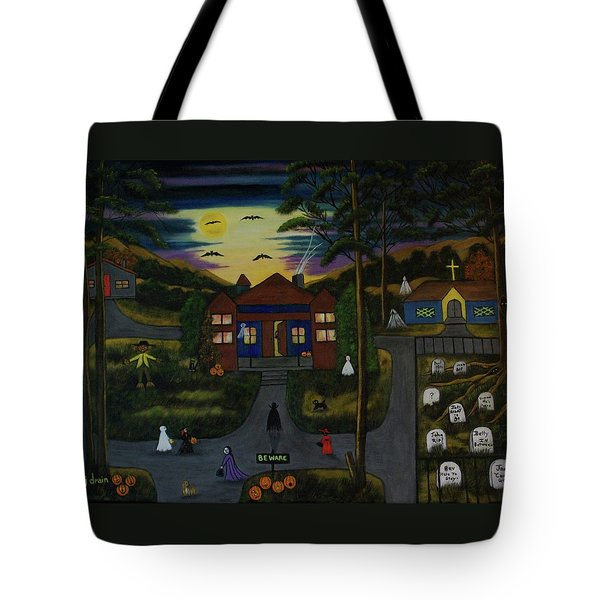 Halloween Night Tote Bag by Brenda  Drain