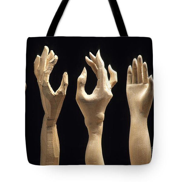 Hands Of Wood Puppets Tote Bag