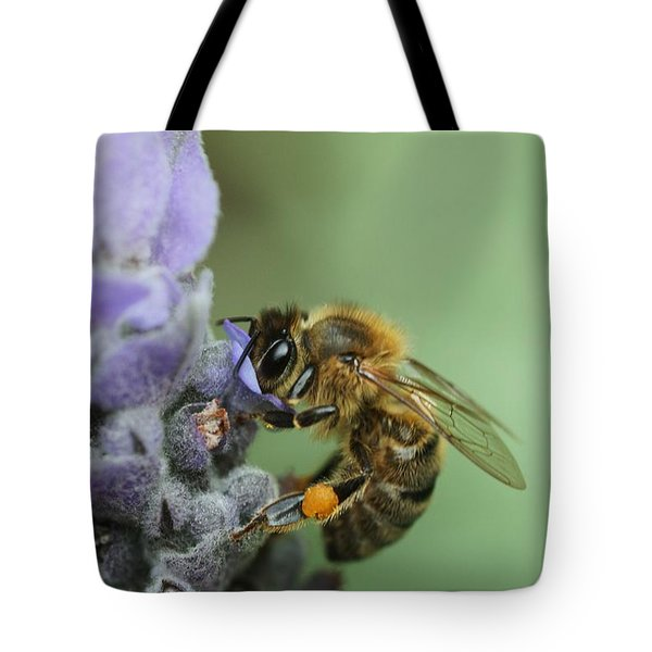 Tote Bag featuring the photograph Happy Bee by Joy Watson
