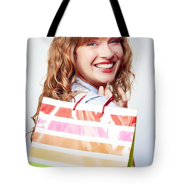 Happy Female Retail Shopper With Bag And Smile Tote Bag