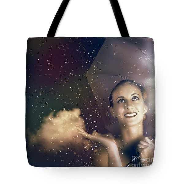 Happy Woman Walking Outside On A Rainy Summer Day Tote Bag