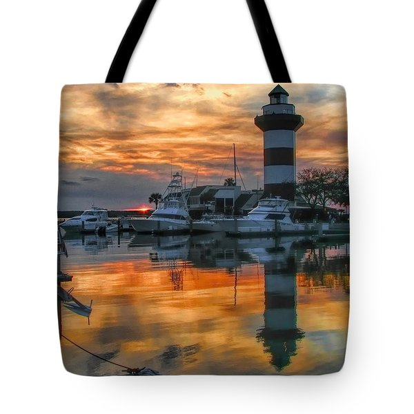 Tote Bag featuring the photograph Harbour Town Sunset by Dale Kauzlaric