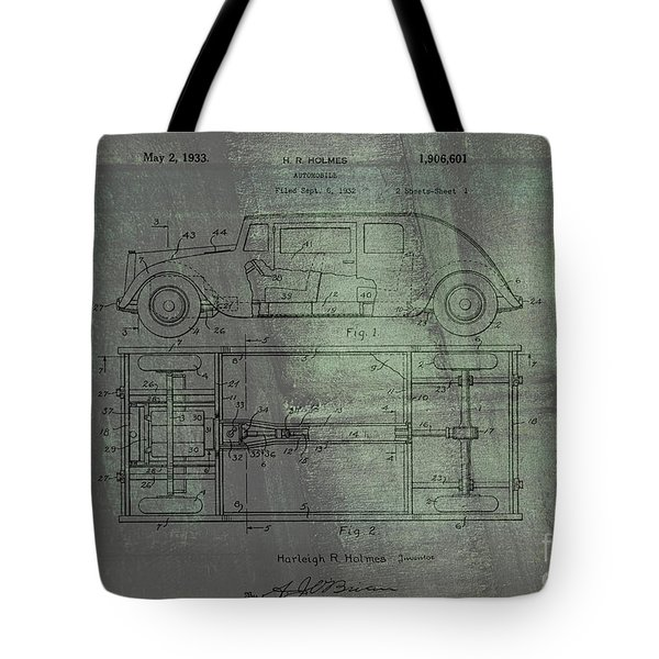 Harleigh Holmes Automobile Patent From 1932 Tote Bag