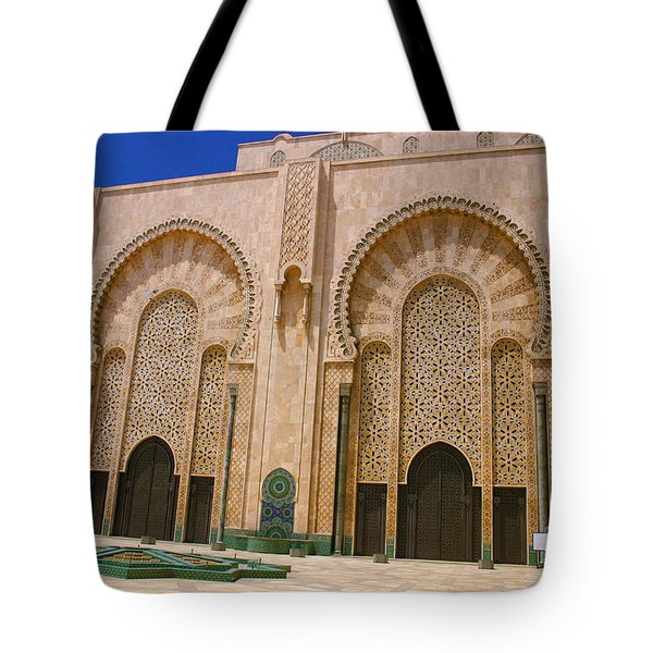 Tote Bag featuring the photograph Hassan II Mosque Grand Mosque Sour Jdid Casablanca Morocco by Ralph A  Ledergerber-Photography