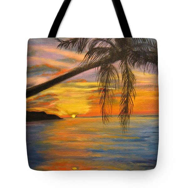 Tote Bag featuring the painting Hawaiian Sunset 11 by Jenny Lee