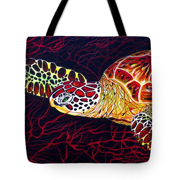 Tote Bag featuring the painting  Hawksbill Turtle by Debbie Chamberlin