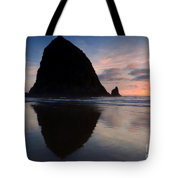 Haystack Reflections Tote Bag by Mike  Dawson