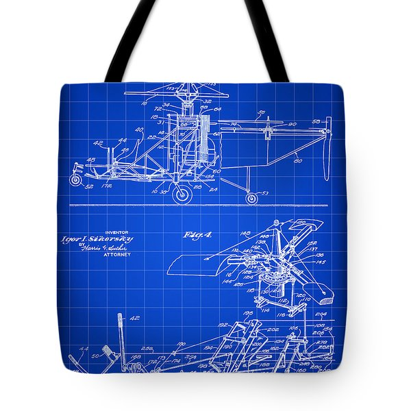 Helicopter Patent 1940 - Blue Tote Bag