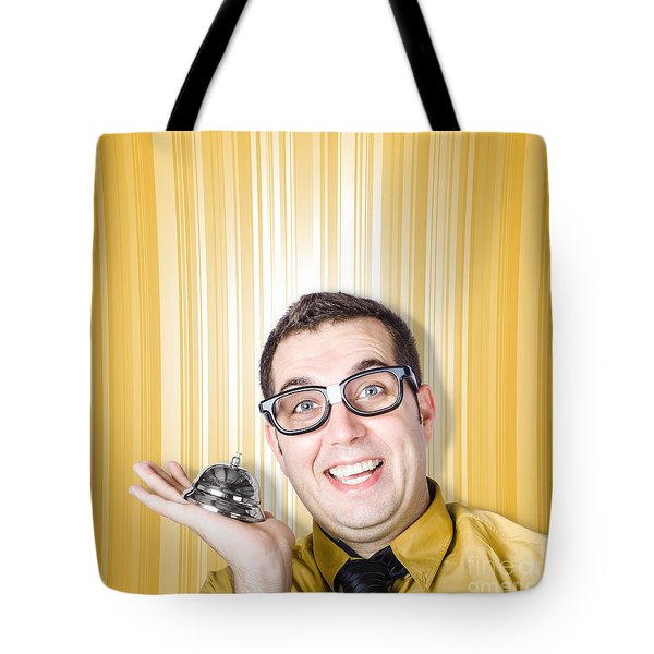 Help Desk Worker Ready To Assist With Ring Bell Tote Bag