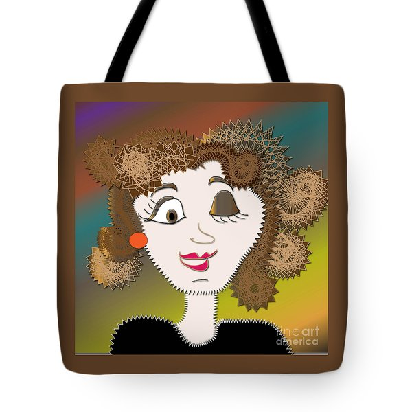 Tote Bag featuring the digital art Hilary by Iris Gelbart