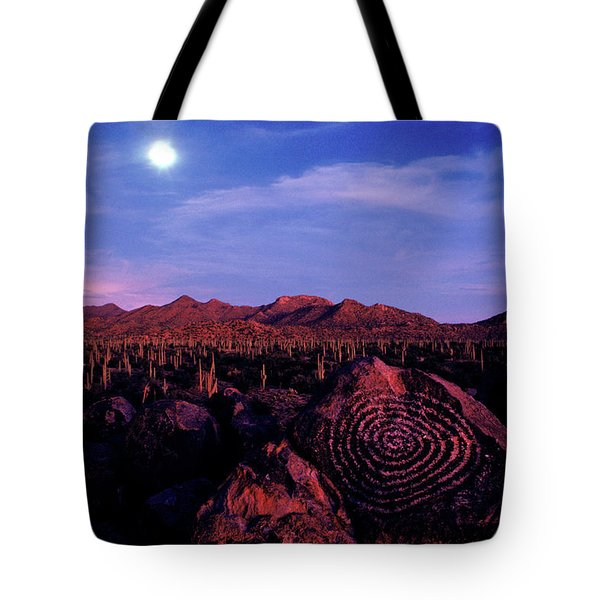 Hohokam Petroglyph In The Saguaro Tote Bag