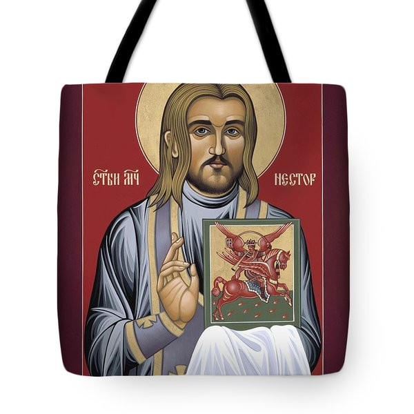 Tote Bag featuring the painting Holy New Martyr Nestor Savchuk 069 by William Hart McNichols