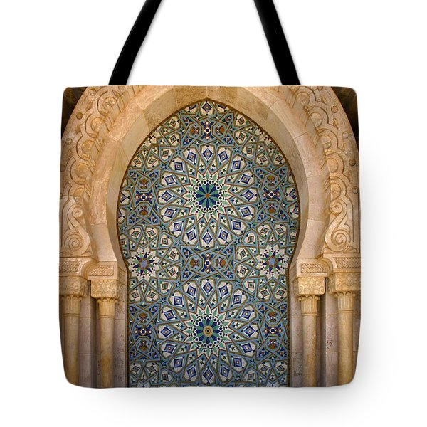 Tote Bag featuring the photograph Holy Water Fountain Hassan II Mosque Sour Jdid Casablanca Morocco  by Ralph A  Ledergerber-Photography