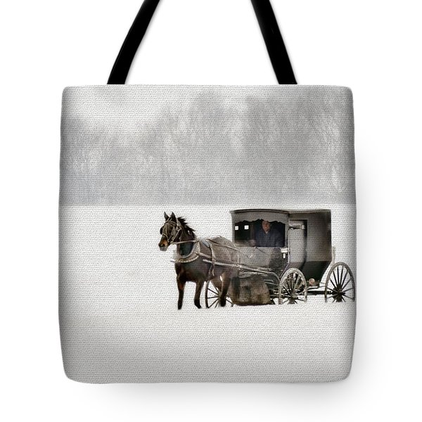 Horse And Buggy In Snow Storm Tote Bag by Dan Friend