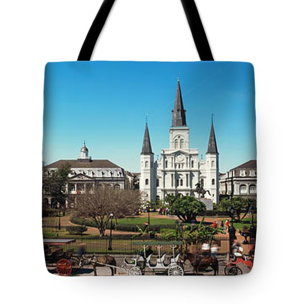 Horsedrawn Carriages On The Road Tote Bag