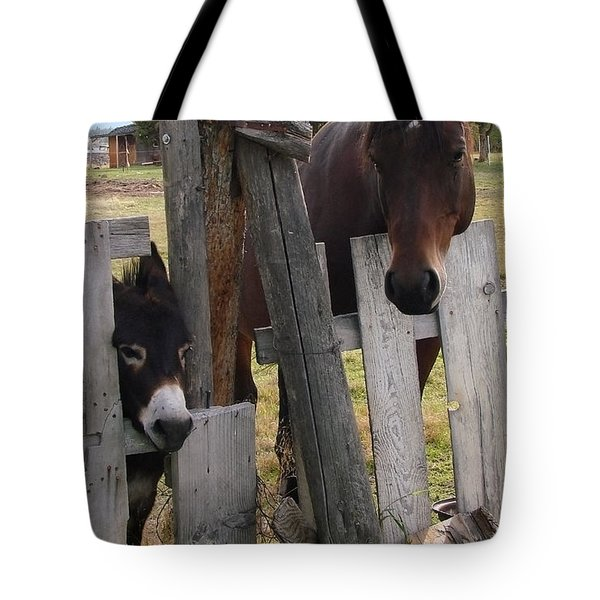 Tote Bag featuring the photograph Horsing Around by Athena Mckinzie