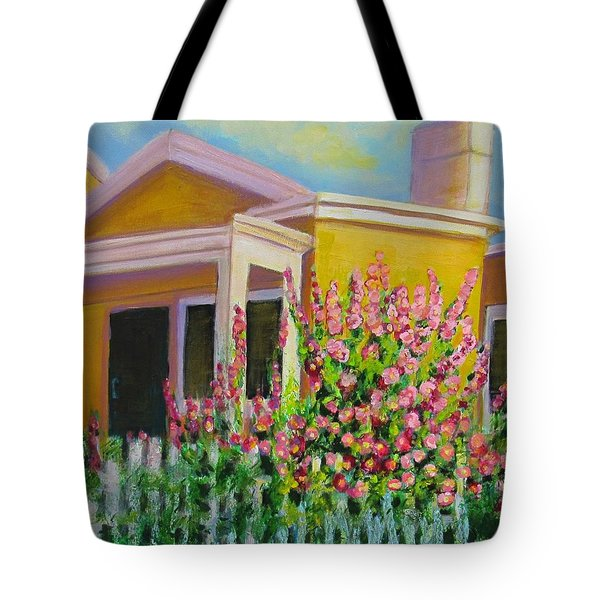 Hot Hollyhocks Tote Bag