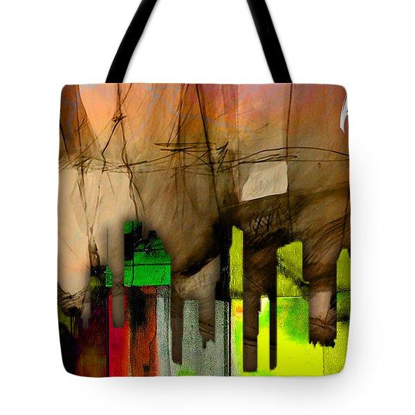 Houston Texas Skyline Watercolor Tote Bag