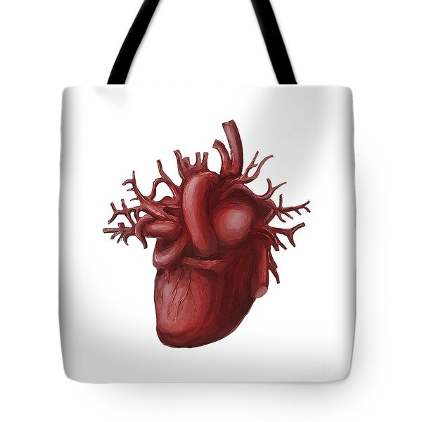 Human Heart Medical Diagram Isolated On White Tote Bag