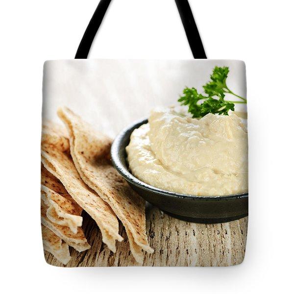 Hummus With Pita Bread Tote Bag by Elena Elisseeva
