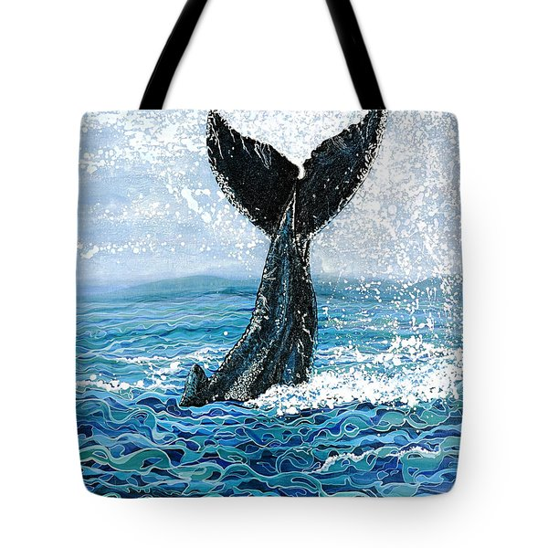 Tote Bag featuring the painting Humpback Flukes by Debbie Chamberlin
