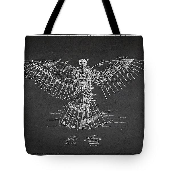 Icarus Flying Machine Patent Drawing Rear View Tote Bag by Aged Pixel