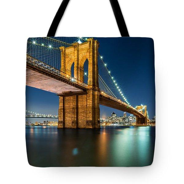 Illuminated Brooklyn Bridge By Night Tote Bag
