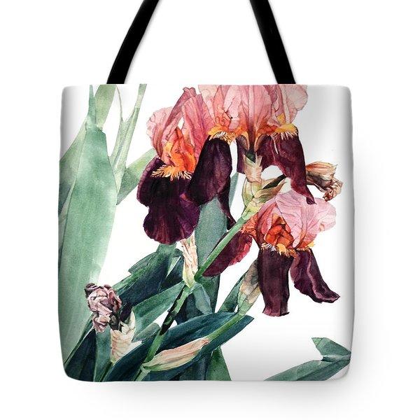Watercolor Of A Pink And Maroon Tall Bearded Iris I Call Iris La Forza Del Destino Tote Bag
