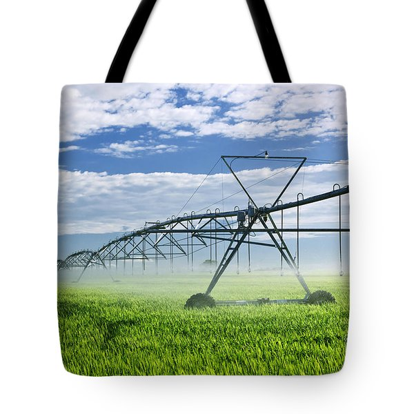 Irrigation Equipment On Farm Field Tote Bag