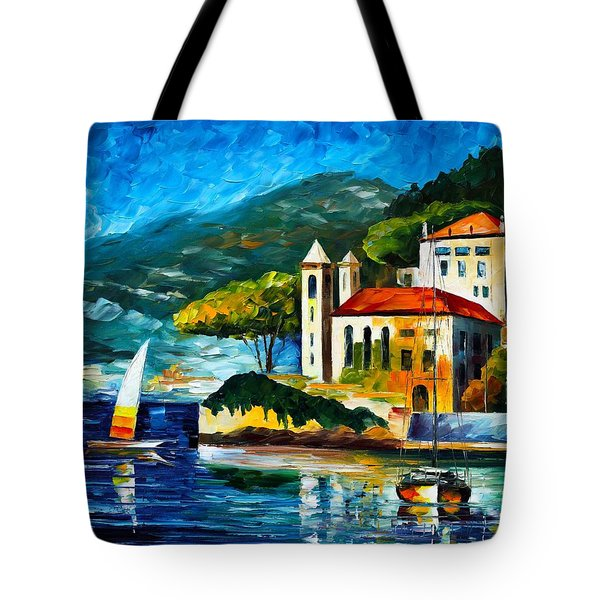 Italy Lake Como Villa Balbianello Tote Bag by Leonid Afremov