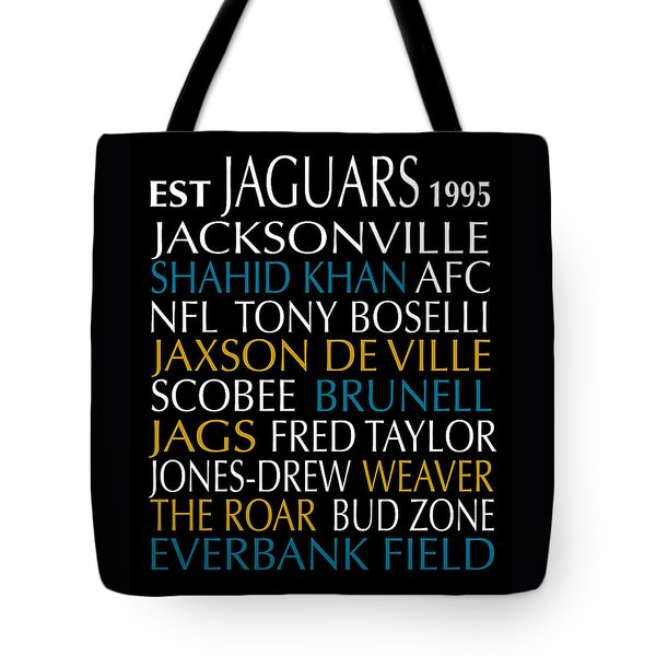 Tote Bag featuring the digital art Jacksonville Jaguars by Jaime Friedman