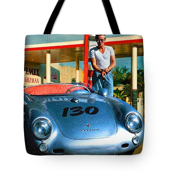 James Dean Filling His Spyder With Gas Tote Bag