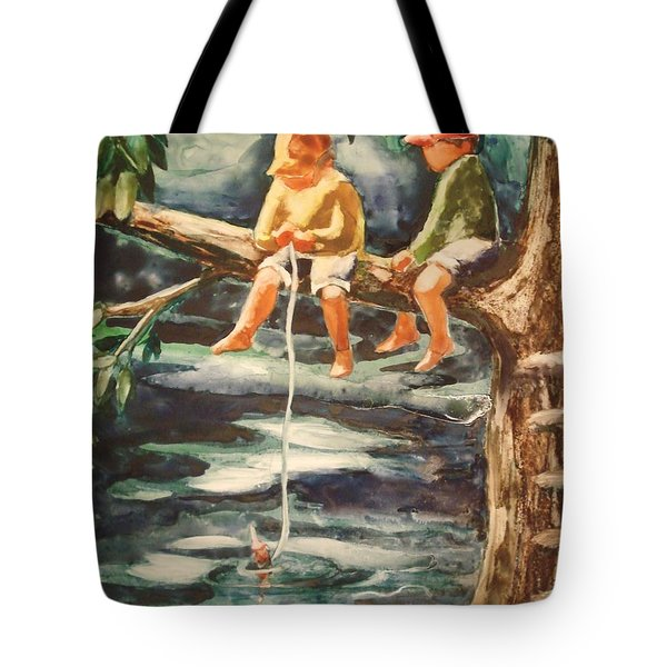 Jes Fishin Tote Bag by Marilyn Jacobson