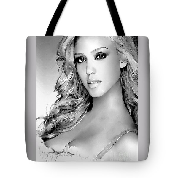 #1 Jessica Alba Tote Bag by Alan Armstrong