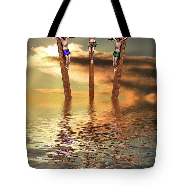 Jesus And Two Thieves On The Cross Tote Bag