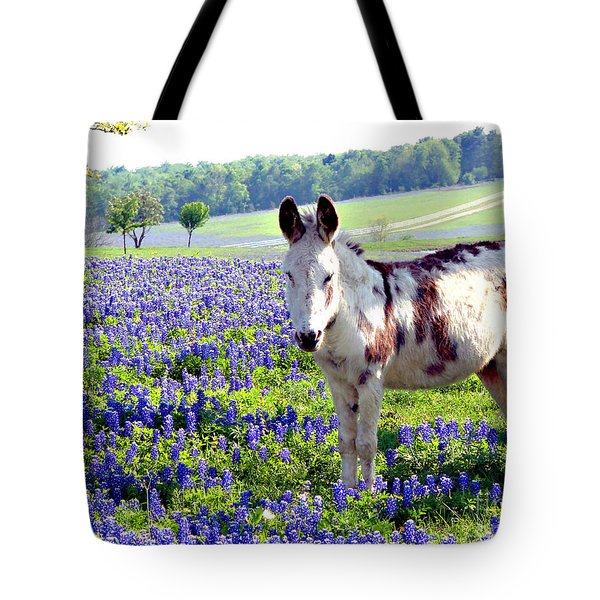 Jesus Donkey In Bluebonnets Tote Bag by Linda Cox