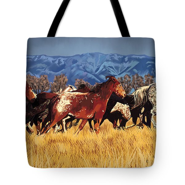 Tote Bag featuring the painting Joe's Horses by Tim Gilliland