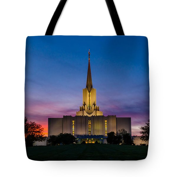Jordan River Temple Sunset Tote Bag by La Rae  Roberts