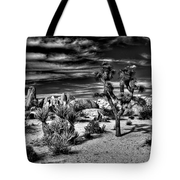 Tote Bag featuring the photograph Joshua Tree Black And White by Benjamin Yeager