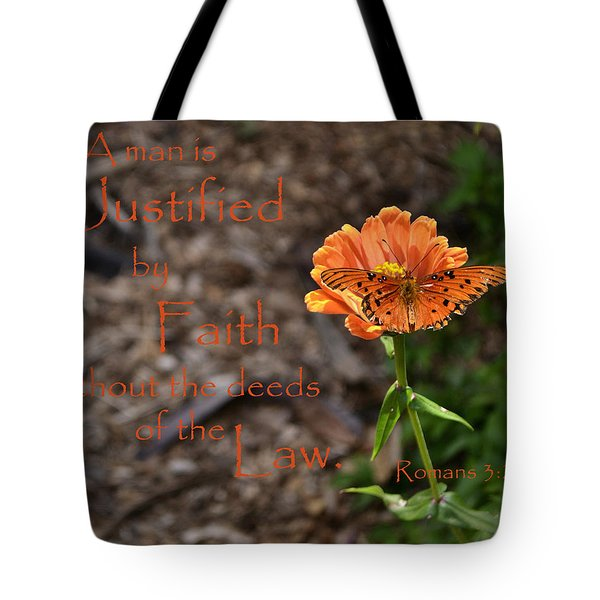 Justified By Faith Tote Bag by Larry Bishop