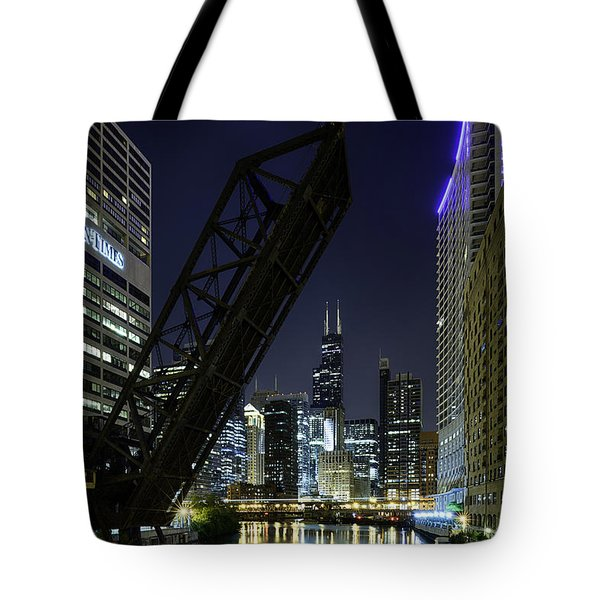 Kinzie Street Railroad Bridge At Night Tote Bag by Sebastian Musial