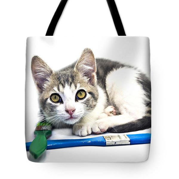 Tote Bag featuring the photograph Kitten With Paint Brushes by Susan Leggett