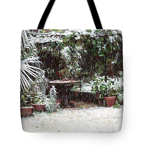 La Neve Sotto La Topia Tote Bag by Guido Borelli